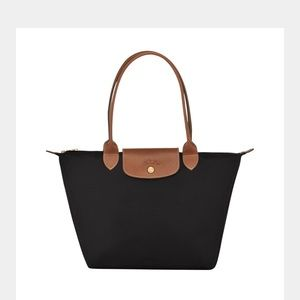NWT longchamp le pliage shopper black long strap